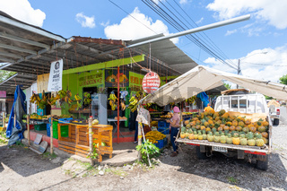 Panama, Bugaba town, tropical fruit shop with outdoor display