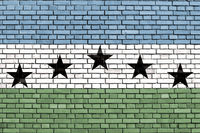 flag of Firestone, Colorado painted on brick wall