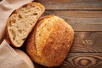 Homemade tartine bread on wooden table