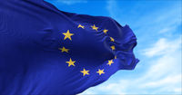 The flag of The European Union flapping in the wind