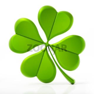 Four leaf clover isolated on white background. 3D illustration