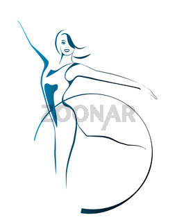 sketch of  girl with gymnastic hoop