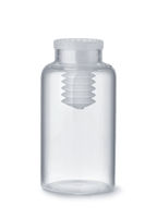 Empty clear glass medical pills bottle