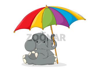 Elephant with umbrella