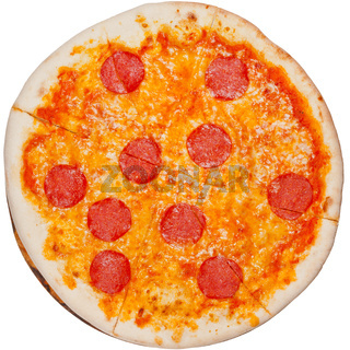 top view of italian pizza with spicy salami