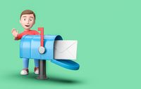 Young 3D Cartoon Character with Mailbox on Blue Background with Copy Space