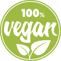 round green 100 percent vegan label or sticker with leaves