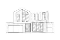 house illustration,  sketch drawing of a modern building or home -