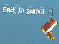 Shoes hanging on wire background. Back to school