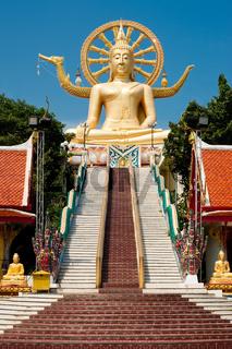 Big golden Buddha statue in Wat Phra Yai Temple. Koh Samui island, Thailand