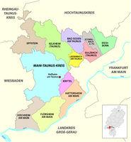 Vector administrative district map Main-Taunus-Kreis, Hesse, Germany