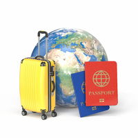 Travel concept, planet Earth with suitcase and passports 3D