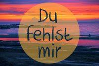 Sunset Or Sunrise At Sweden Ocean, Du Fehlst Mir Means I Miss You
