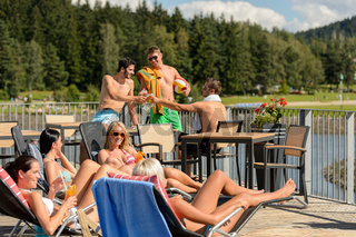 Young people having fun summertime holiday