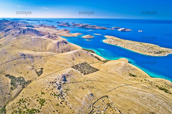 Kornati. Amazing island archipelago landscape of Kornati national park aerial panoramic view