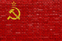 flag of Soviet Union 1936–1955 painted on brick wall