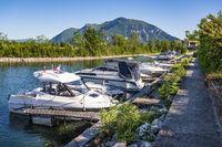 Der Hafen von Chanaz an der Rhône, Savoie