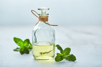 bottle with mint essential oil and green leaf on white background. Natual organic ingredients for cosmetics, skin care, body treatment. Beauty care concept