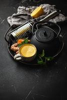 Healthy turmeric tea beverage
