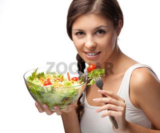Woman and salad