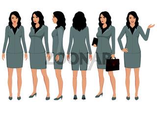 Set of cartoon businesswomen character vector design