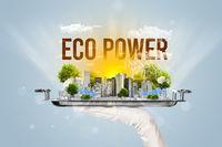 Waiter serving eco cityscape concept
