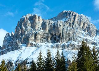 Beautiful winter rocky mountain landscape (Great Dolomites Road).