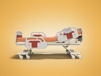 Concept hospital bed semi automatic with control panel 3d render on orange background with shadow