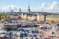 Transport hub near Slussen subway station in Stockholm