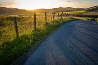 Country Road In Scotland At Sunset