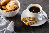 Coffee cup and sweet cookies.