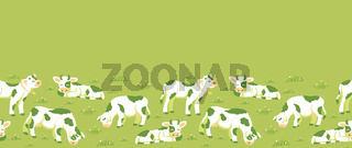 Cows on the field horizontal seamless pattern background border
