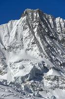 Schneebedeckter Gipfel Täschhorn, Mischabelhörner, Saas-Fee, Wallis, Schweiz