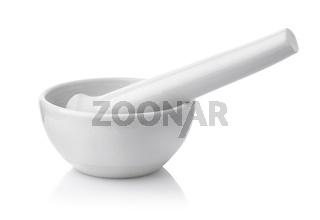 White porcelain mortar and pestle