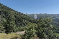 Wanderin zwischen Bellwald und Aspi-Titter Hängebrücke bei Fieschertal Hiker between Bellwald and Aspi-Titter suspension bridge near Fieschertal