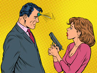 the woman pointed the gun suction Cup joke at the man. spies, agents and detectives