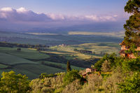 VAL D'ORCIA, TUSCANY, ITALY - MAY 18 : Sunrise in Val d'Orcia, Tuscany,  Italy on May 18, 2013