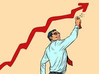 businessman draws graffiti sales growth graph. Street art