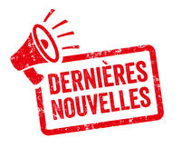Red stamp with megaphone  - Latest news in french - Dernières nouvelles