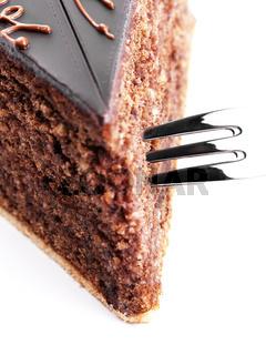 schokoladenkuchen mit gabel