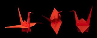 Red crane bird origami