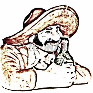 Trinkender Mexikaner als Zeichnung