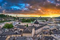Salzburg Austria, sunset city skyline of Salzburg city center