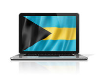 Bahamian flag on laptop screen isolated on white. 3D illustration