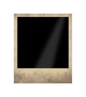 Old empty instant photo frame isolated on white