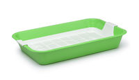 Empty green plastic cat litter tray