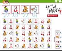 how many cartoon Christmas characters counting game