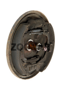 Old brake pads and cylinder brake drum (isolated)