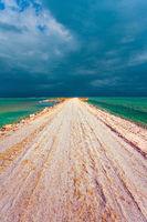 Winter thunderstorm in Dead Sea.
