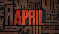 Retro letterpress wood type printing blocks - April